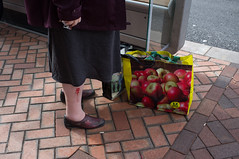 (Matt Obrey) Tags: street red woman colour shopping bag shoe birmingham fuji hand streetphotography apples wound x100 birminghamstreet fujix100