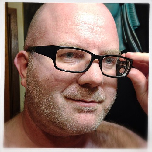 gay shaved glasses