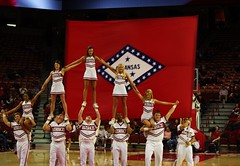Razorback Flag Pyramid (DGS Photography) Tags: 2001 beautiful basketball cheerleaders pyramid flag arkansas fayetteville strauss arkansasrazorbacks alsosprachzarathustra budwaltonarena