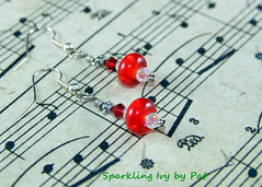 Bright Red (SparklingIvy) Tags: red silver swarovski earrings lampwork swarovskicrystals rubyred lampworkbeads