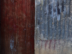 (Crausby) Tags: door wood blue red detail art portugal metal mediumformat photography wooden artwork closed fineart hasselblad textures doorway study portal algarve corrugatediron turen mittelformat parchal h3d