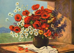 Oriental Poppies and Daisies (PorangiKui) Tags: flowers 1940s vintageart calendarart