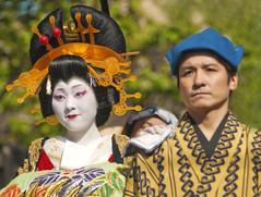OIRAN DOCHU -  (ajpscs) Tags: tokyo  japan  ajpscs nippon  japanese    asakusa ichiyozakurakomatsubashi dori  oirandouchu  ichiyouzakuramatsuri festival matsuri parade procession oiran  tayuu   yjo  highclass courtesan prostitute edo16001868 yoshiwarapleasure entertainer patronise geta komageta mitsuashi sanmaibageta skill hachimoji hairstyle obi pins combs kimono complex servants edo yoshiwara courtesan    10  tokyo japan