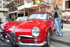 Natalia and her car :-) (little-rock-gallery) Tags: street red classic car festival bristol italian corn alfa romeo april 2013 automoto bristolitalianautomotofestival