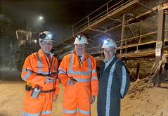 Minister Wilson in Carrick Salt Mine. Pictured with the Minister are (l-r) Jason Hopps, Mine Surveyor, the Minister and Alwyn McCreanor, Company Administrator (Northern Ireland Executive) Tags: saltmine finance financeminister carrickfergus dfp kilroot sammywilson centralprocurementdirectorate
