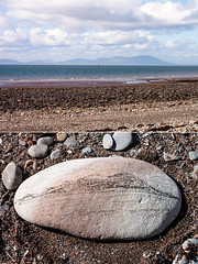 Criffel on stone (allybeag) Tags: beach stone sketch drawing criffel seacoal solawy
