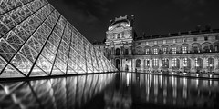 The Louvre at night (marianboulogne) Tags: city longexposure nightphotography urban blackandwhite bw paris france reflection water monochrome architecture night reflections lights mono europa europe exposure noiretblanc wideangle explore nuit pary francja explored samyang14mmf28 sonya99