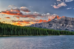 Red Rundle (Phil's Pixels) Tags: canada sunrise dawn alberta banff cloudscape gettyimages mtrundle twojacklake
