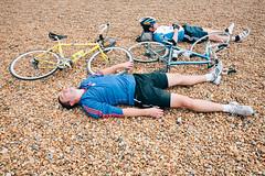 Sleepy cyclist #3 (lomokev) Tags: sleeping portrait england man male beach bike sport canon private person eos brighton cyclist unitedkingdom stones sleep human 5d exhausted londontobrighton sleeeping canoneos5d shotonhscourse londontobrighton2012 file:name=120617eos5d9065