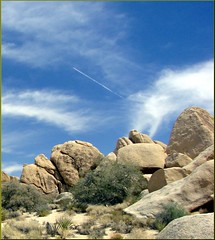 Time Check, Jet Over Joshua Tree NP 4-13-13 (inkknife_2000) Tags: california cactus usa landscapes rocks desert joshuatree skyandclouds nationalparks rockclimbing yucca joshuatreenationalpark rockpiles hedgehogcactus cactusblooms yuccablooms joshuatreeblooms dgrahamphoto