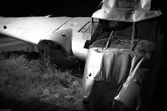 Beech 18 (Erik707) Tags: longexposure blackandwhite bw usa monument norway night rural airplane illinois crash aircraft aviation nopeople il northamerica publicart 1855mm roadside wreck 2009 wreckage beech twinengine planecrash d40 rt71 lasallecounty agcrash agriculturalcrash