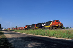 CN 2666 south at Effingham, IL JUNE 2012 (CentralILRailfan) Tags: railroad summer sun electric cn train ic illinois mixed afternoon fuji general central railway trains canadian il velvia national late fujifilm ge rejected rvp100f freight effingham 100f 2666 rejections railpicturesnet railpictures