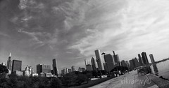 Skylines (vikramav) Tags: morning sky bw lake chicago skyline cityscapes jogging sundays uploaded:by=flickrmobile flickriosapp:filter=nofilter blacamdwhite