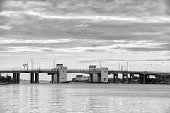 Captree Island Drawbridge (Bill McBride Photography) Tags: park bridge blackandwhite ny newyork water clouds canon eos li state longisland drawbridge stm captree 18135 70d captreeisland september2013 efs18135stm