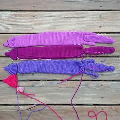 Four future vinxes, all in a row (crochetbug13) Tags: crochet crocheted crocheting purple orchid mink minks stole accessory minkstole veganmink vinx vinxes diy