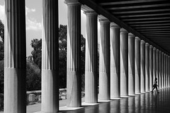 (cherco) Tags: alone lonely solitario composition composicion columns columnas reflejos reflexions girl chica walk teen blackandwhite blancoynegro canon repeticion repetition canoneos5diii 5d
