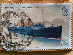 St Helier passes Elizabeth Castle - 1989 Jersey postage stamp (fstop186) Tags: sthelier elizabethcastle 1989 jersey postagestamp used franked ship sailing nautical philately