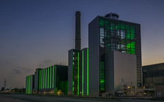"""""""Lausward"""" Power Plant after sunset (stefanfricke) Tags: lausward power plant dsseldorf green sony ilce6000 a6000 industrie industry"""