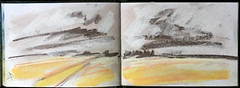 Sunlight on barley (johnhumber48) Tags: sunkisland sketchbookpages sketchbook pastels pasteldrawing pastellandscape pleinair