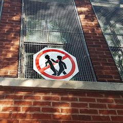 Children fighting (Exile on Ontario St) Tags: schoolyard school enfants montral children playground courdcole cole fight bataille bagarre violence warning avertissement interdit forbidden plateau prohibition defense dfense prohibited sign signe affiche montreal plateaumontroyal stickfigure stickfigures stick figure peril figures battre fighting hit hitting slap hurt brats square squareformat bullying bully bullies chateaubriand intimidation elementary primaire louishippolytelafontaine