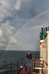 Rainbow off the stern (knutsonrick) Tags: rainbow storms greatlakes lakehuron lighting sun stern laker lakerboat footer 1000footer asc americansteamshipcompany mvwalterjmccarthyjr