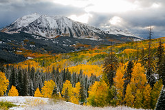 Colorful Colorado Fall - Kebler Pass (Ryan C Wright) Tags: red crested butte keblerpass colorado colorful aspentrees aspenleaves aspens fallfoliage autumn vinotok lostlake lostlakeslough snow weather photography landscapephotography naturephotography coloradophotography gunnison kebler