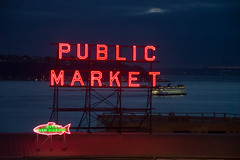 Pike at Night (Big Hearted Guy) Tags: water ferry d3200 seattle pikeplacemarket