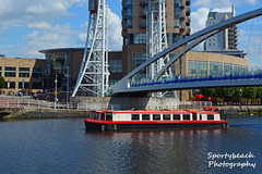 Emmeline Pankhurst Cruise boat (jonnywalker) Tags: salfordquays manchester salford lowryoutletmall manchestershipcanal quays footbridge millenniumfootbridge boat emmelinepankhurstcruiseboat emmelinepankhurst citycentrecruises