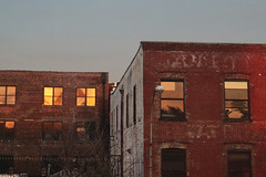 Reflecting Warehouse Windows (lefeber) Tags: newyork city urban architecture buildings downtown warehouse windows urbandecay reflection eveninglight