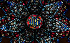 Saint John the Divine Cathedral Rrose Stained Glass Window by Charles Connick, New York City (notmydayjobphotography) Tags: newyorkcity church window st rose john cathedral great divine stainedglasswindow episcopal charlesconnick