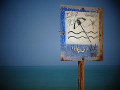 Permitido baarse (JavierPsilocybin) Tags: blue beach southamerica sign azul swim colombia playa letrero sudamerica seal cabodelavela laguajira