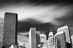 Urban (Ron Rothbart) Tags: sanfrancisco california sky urban blackandwhite bw monochrome buildings neutraldensityfilter 10stopfilter
