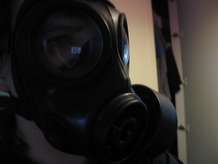 Wearing my S10 respirator (AusRubberFan) Tags: uk army nbc mod mask navy nuclear rubber gas abc gasmask british avon biological s10 chemical respirator radiological cbrn
