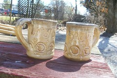 Oatmeal Glazed Stoneware Mug Pair (Chipmunk Hill Arts) Tags: original art ceramics artist handmade w clay bloomingtonindiana katiewolfe chipmunkhillarts