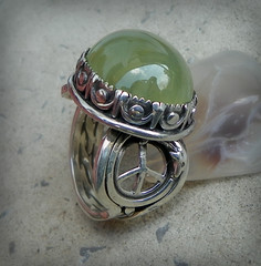 GreenPeace  Prehnite and Opal sterling silver Dolphin Ring (leespicedragon) Tags: original green art nature metal silver peace earth dolphin ooak greenpeace jewelry ring handcrafted sterling gaia opal forged ecosystem cabochon prehnite