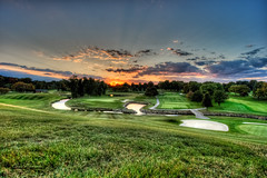 Birmingham Country Club Sunset (ChrisMRichards) Tags: county sunset green grass club clouds river golf rouge oakland birmingham midwest michigan country great detroit lakes course southeast hdr