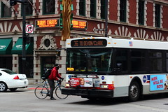 Close Call (C_Dubyaa) Tags: chicago bus bike call close harry carey dearborn kinzie chicagoist