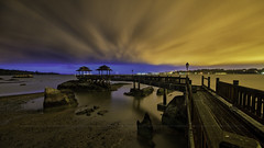 Storming Blue (Edward Tian) Tags: longexposure bridge blue nikon singapore bluehour lowtide pulauubin samyang14mm d800e