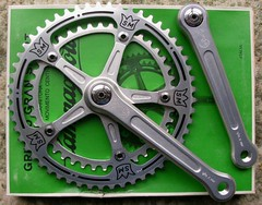 Campagnolo Gran Sport Chainset. (Paris-Roubaix) Tags: bike bicycle vintage italian san parts super record marco components cranks campagnolo pantograph brev chainrings chainset