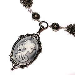 Steampunk Goth Jewelry - Necklace - White on Hazy Black Skeleton Lady portrait Cameo - SilverTone (Catherinette Rings Steampunk) Tags: