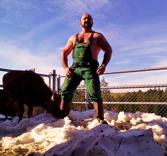 melting snow at the corral - april 2013 (Farmerbaer) Tags: swissfarmer schweizerbauer rural landleben rubberboots gummistiefel brawnyfarmer hairychested bearded stocky buff muscled