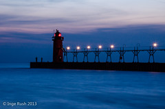 South Haven Lighthouse - Blue Hour (Michigan Transplant) Tags: blue light red lighthouse black clouds river pier nikon long exposure michigan bluehour blau pierhead leuchtturm southhaven anglers d5100
