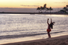 Hawaiian Sunset Dancer (cstout21) Tags: travel chris sunset vacation usa beach clouds hawaii us sand colorful unitedstates oahu palmtrees pacificocean honolulu aloha hdr highdynamicrange stout ngoc canonxs stoutandstout