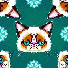 Grumpy Cat Geometric Pattern (Chobopop) Tags: geometric illustration cat design pattern character grumpy vector tard chobopop society6