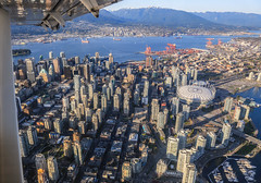 Aerial view of Downtown Vancouver (Claude Schneider) Tags: mountains vancouver downtown air aerialview aerial deepcove burrardinlet stanleypark harbourair seaplane indianarm grousemountain bcplace rogersarena