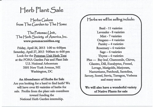 Herb Society, Potomac Unit/Friends of National Arboretum (FONA) plant sale