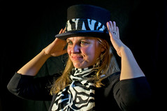 Yolanda - top hat 4 (Richard Amor Allan) Tags: lighting hat stripes tophat zebra experimentation yolanda zebrastripes zebrapattern willfieldcameraclub yolandaamorallan