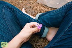 Little Love (Laughing Lark Photog) Tags: blue flower love home nature girl beauty digital canon garden outside rebel photographer purple indian style northcarolina jeans april denim bouquet feelings cuffed t1i