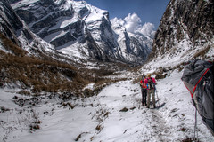 Snow and T-Shirts (pbr42) Tags: nepal people snow landscape hiking trail valley hikers annapurna hdr luminance modi
