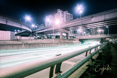 """Tangled Light..."" (M.Clarkson) Tags: light streets cars south bridges korea seoul streams beams 10mm"